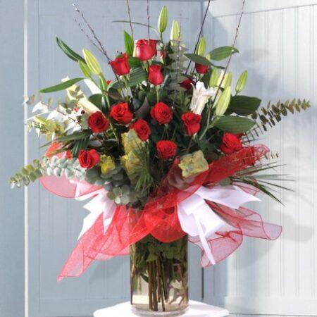 Florero con 18 Rosas Rojas
